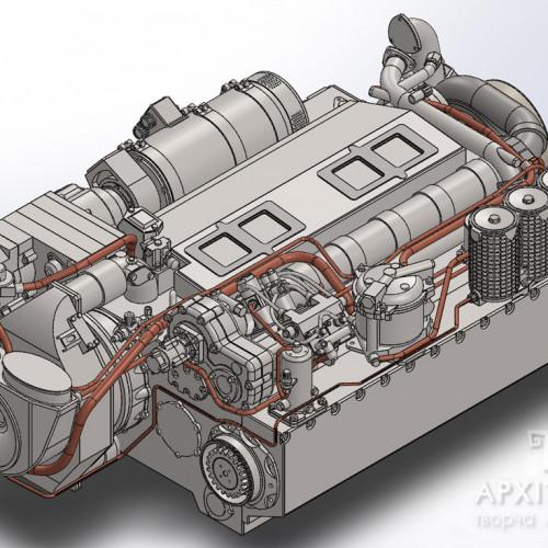 3Д модель для изготовления макета двигателя, на заказ, Киев