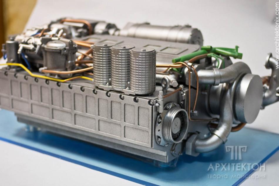 3Д печать макет двигателя 6ТД , масштаб 1/3, Киев
