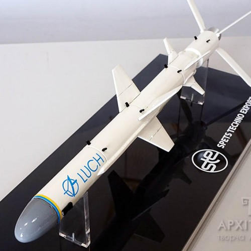 The Neptune rocket model at the exposition of Ukraine at the IDEX-2019 exhibition. 3D printing.
