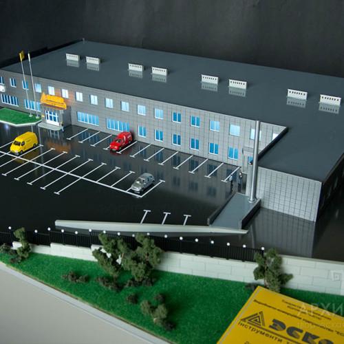 макет торгово-офисного центра, масштаб макета: 1: 87