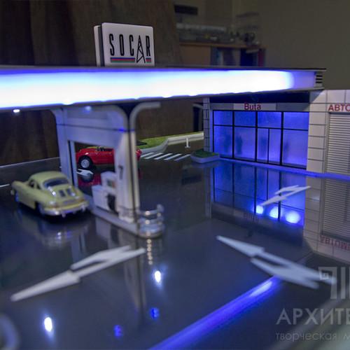 подарочный архитектурный макет заправочной станции
