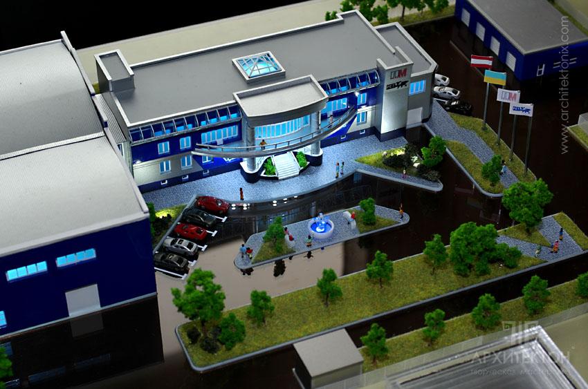 Макет офисно-складского-производственного комплекса, масштаб 1:250