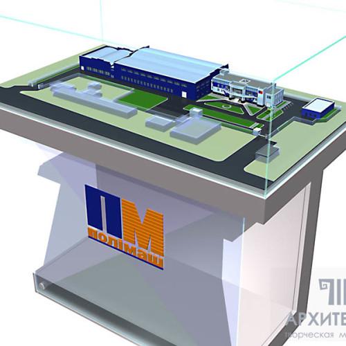Макет офисно-складского-производственного комплекса с подсветкой