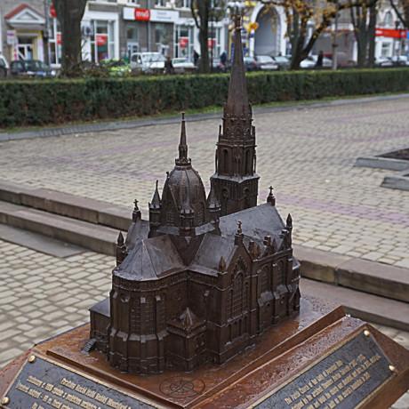 Макет из бронзы костела Материи Божей. Тернополь, Украина