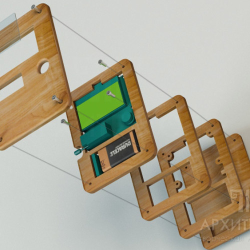 Складальна схема деталей корпуса. 3D візуалізація. деталі корпуса