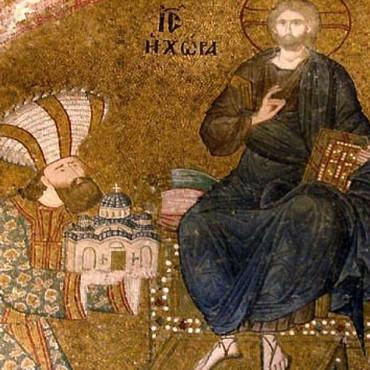 Теодор Метохит пропонує макет церкви Христа. Мозаїка в храмі Святого Спасителя XIII століття.