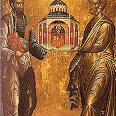 Ікона Петро і Павло з макетом церкви