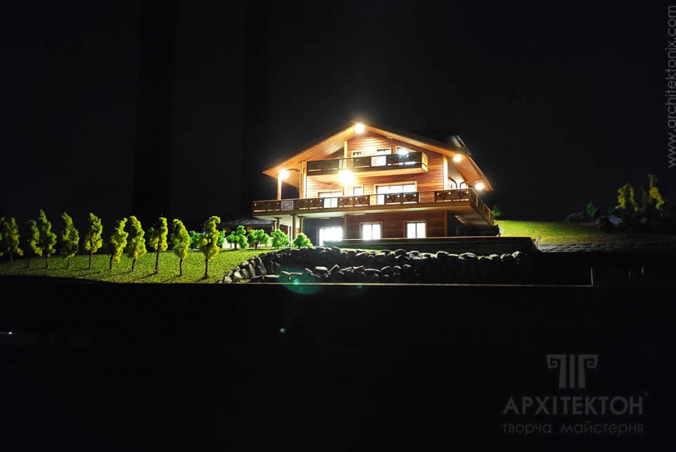 Architectural model of a cottage, scale 1/200