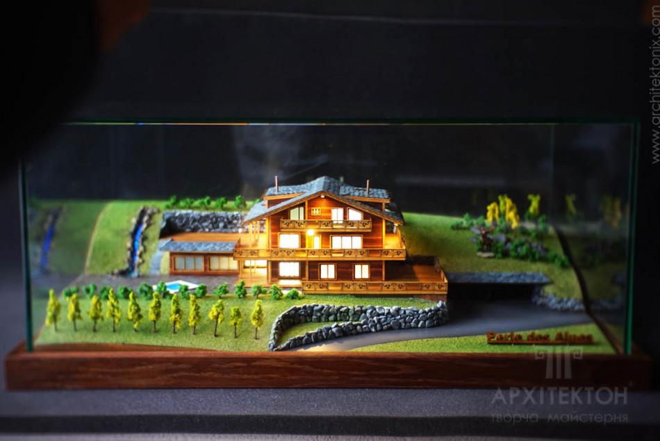 Архитектурный 3D макет коттеджа, масштаб 1/200