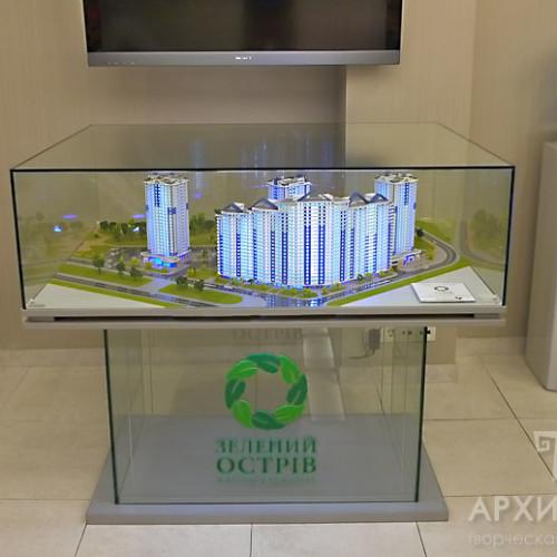 Архитектурный макет под стеклянным купалом
