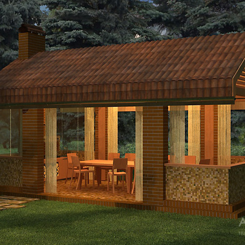Project of a gazebo with a grill for twelve people