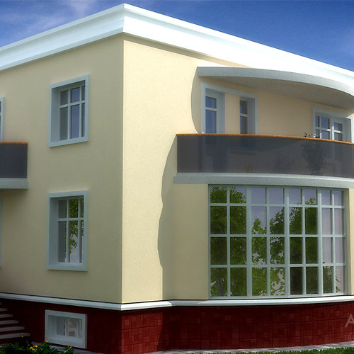 The project of a private house, a variant with a light stucco