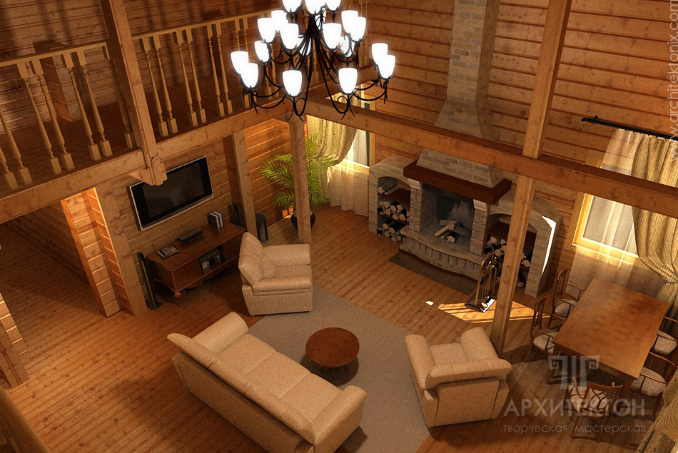 Visualization of the interior of the cottage