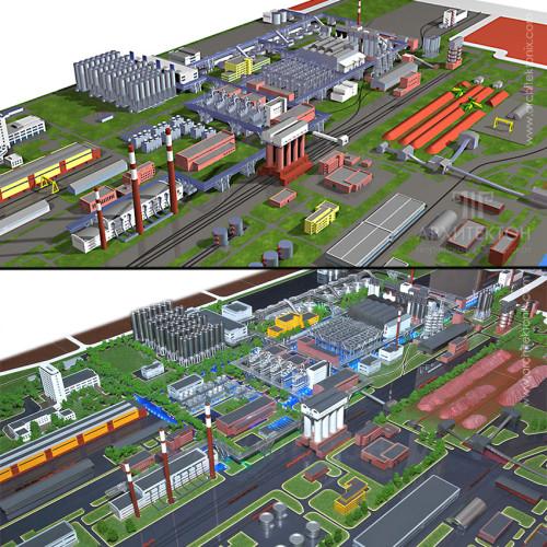 3D визуализация макета и готовый макет завода