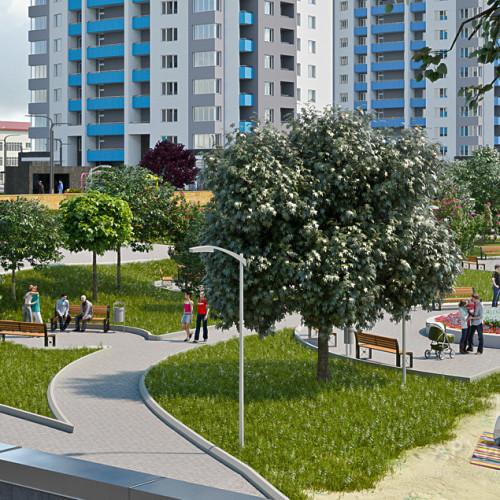 Рекламна візуалізація архітектурного проекту житлових будинків