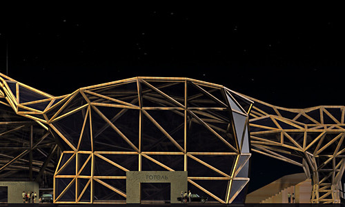 Концепція спортивного комплексу з футбольною ареною, критим басейном і готелем в місті Косів