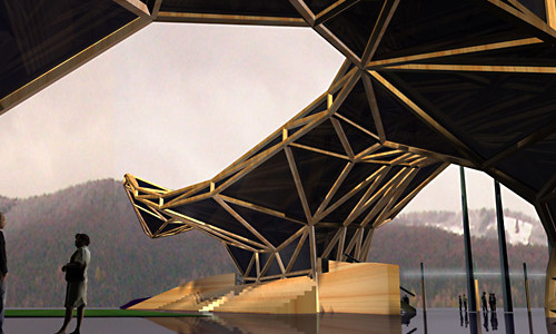 Концепція спортивного комплексу з футбольною ареною, критим басейном і готелем в місті Косів. Головний архітектор Гавриш С. Р.