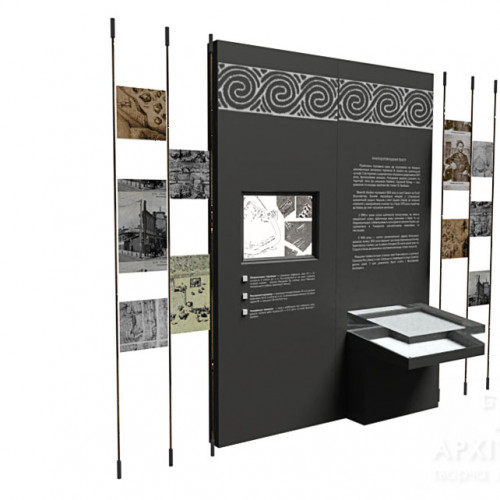 модульный стенд с сенсорным дисплеем для музея