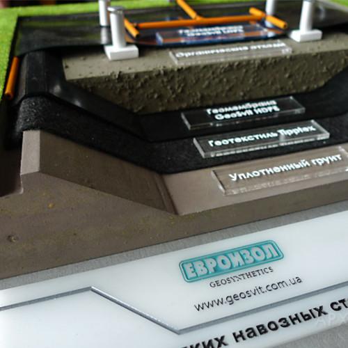 Макет лагуны для демонстрации геотекстиля