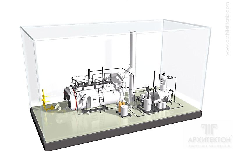 Предварительная визуализация макета котельной VIESSMANN