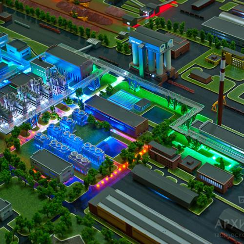 Макет промышленного комплекса с подсветкой