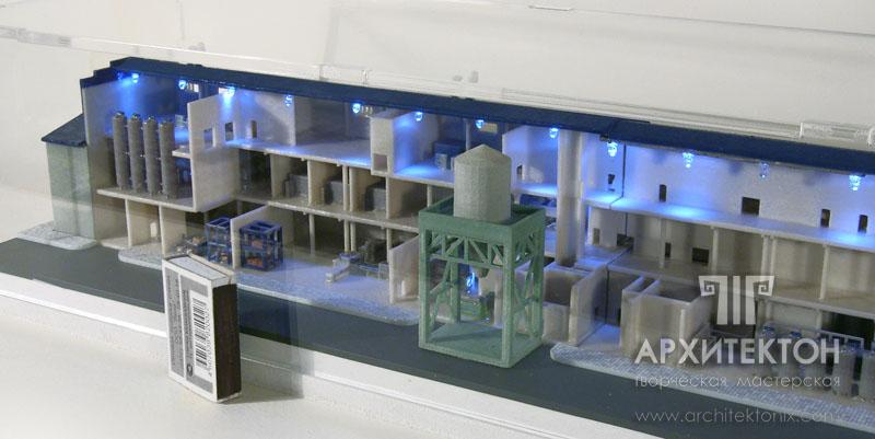 Фрагмент макета по производству яичного порошка, в разрезе. Масштаб 1:300