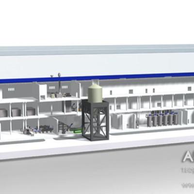 Визуализация макета завода по производству яичного порошка, в разрезе. Масштаб 1:300