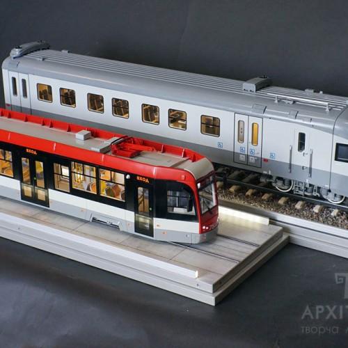 Макет трамвая и вагона с подсветкой и интерьером, 3D печать, Киев